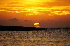 Sunset Playa Giron (Ludovic Farine) Tags: travel sunset red sea summer orange sun fish beach sunshine america island fishing underwater cuba playa traveller snorkeling caribbean larga giron