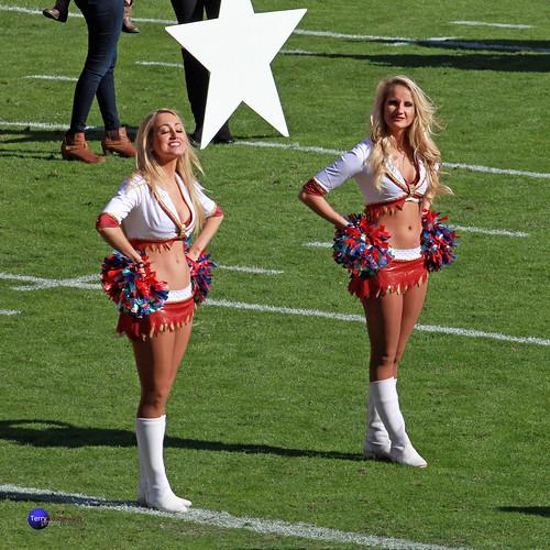 Redskinette Cheerleaders Chloe and Jade Kenny enjoy the sun.