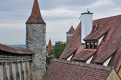 On the City Wall (1) (AntyDiluvian) Tags: trip wall germany deutschland town rooftops towers medieval rothenburg middleages defense 2015 romanticroad rothenburgobdertaube rothenburgodtaube