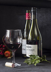 Christmas Spirit, nothing to wine about! (sic) (Christopher Smith1) Tags: wine bottle bottles glass red claret bordeaux chateaux neuf pape christmas cork hardys rembrandt holly celebration festive reflection upright still life advertising promotion poster natural light cote de rhone grape invitation drink food beverage indoor vertical