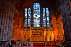 Main window above altar (James O'Hanlon) Tags: chester cheshire john baptist johnthebaptist church cathedral ruins norman medieval effigy stained glass chapel saint st