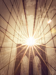 A Flare for Brooklyn (gimmeocean) Tags: hss sliderssunday brooklynbridge iphoneography iphonenography sepia snapseed lensdistortions photoart appleiphone6s iphone6s iphone