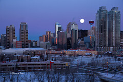 Wolf moon! Explored 01-13-17 (Canon Queen Rocks (1,980,000 + views)) Tags: city cityscape buildings structures sky moon moonlight wolfmoon snow landscape calgary alberta canada dawn sunrise skyline architecture outdoor ilobsterit