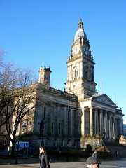Bolton, Lancashire - Town Hall (rossendale2016) Tags: dibnah fred steeplejack climbing roof ladder safety timer time hands hall town lancashire bolton ornate victorian latge centre central square pillars lions steps fountains tall dome clock carved carvings high top climbed flag post flagpost union jack saint george day