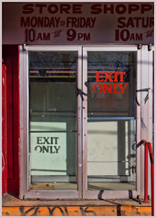 EXIT ONLY (Sally E J Hunter) Tags: toronto bloorstreet bloor honesteds mirvish village closed exitonly typography ontario doors