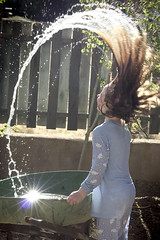 ~water action~ (Ana June) Tags: sunlight hot water garden fun child daughter sunny wheelbarrow