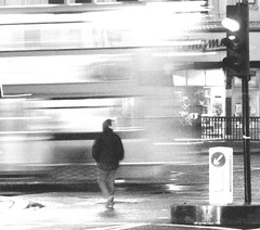 Absence // A Short Story // 1 of 5 (Lady Vervaine) Tags: road street city uk fiction england urban bw white man black blur bus london me night self trafficlight blackwhite missing truth looking traffic god you britain story silence spiritual narrative absence lookingforyou