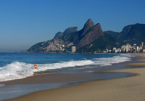 A girl in the surf at Ipanema