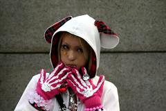 Little white hood (iko) Tags: voyage travel pink japan wall japanese tokyo costume asia hand dressup harajuku ear bones glove japon shibuyaku