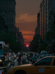 manhattan solstice ((michelle)) Tags: nyc sunset 2 people urban bus car composite twilight dusk manhattan cab taxi pedestrian fv10 14thstreet unionsquare manhattanhenge multipleexposures manhattansolstice verticalorientation