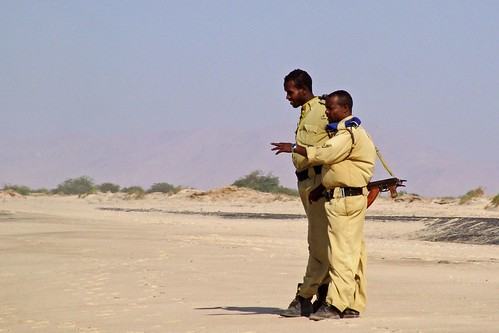 Guards on the beach in Berbera