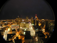 Streetlight Glow (SNWEB.ORG Photography, LLC.) Tags: above city longexposure nightphotography roof sky urban distortion fish david building eye tower abandoned rooftop skyline architecture night mi skyscraper dark lens outside paul lights office downtown nightlights view darkness nightshot sundown angle personal good decay michigan interior air urbandecay great detroit wide wideangle myfav aerial best fromabove gone historic full fisheye explore 180 selected talent urbanexploration frame slowshutter shutter trespass electricity mich historical eaton late inside fieldofview column bld higgins fullframe myfavorite myfavor