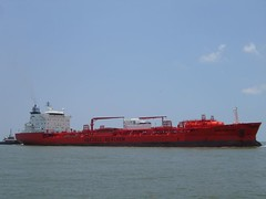 DSC00758 (will.averill) Tags: ocean blue red gulfofmexico water big ship texas jetty tanker gulfcoast texasstatepark surfsidejettypark odfjell seachem