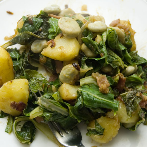 Chard and Broad Beans with Potatoes and Bacon