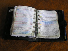 pocket filofax ( Georgie R) Tags: handwriting notebook explore filofax quotations commonplacebook flickrexplore oaktable pocketfilofax smallhandwriting