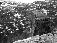 End of the Line (Creativity+ Timothy K Hamilton) Tags: old railroad trestle bridge white broken alaska train bravo 500v20f antique pass rail railway skagway yukon worn whitepass wpyr
