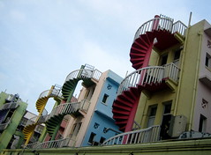 StairScheme (Todd Huffman) Tags: pink blue red color green yellow stairs condos coordination