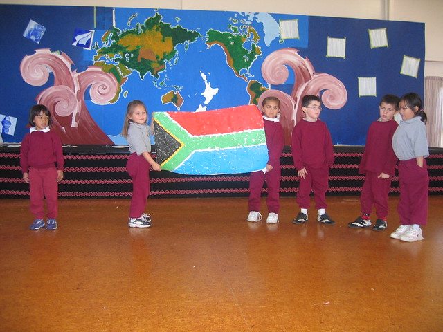 of the South African flag. They explained the meaning behind each colour