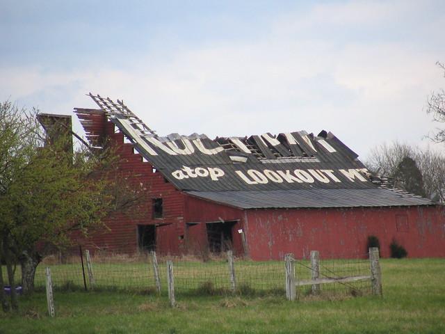 crumbling rock city barn