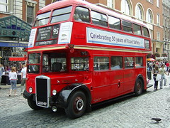 Vintage London bus in Covent Garden (Richard and Gill) Tags: uk red england bus london aldwych coventgarden rtw rt doubledecker londonbus rtw467