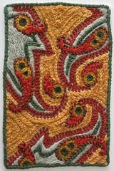 august postcard (sharonb) Tags: sampler needlework embroidery postcard fabric stitching textiles fiber fabricpostcard 6x4lives