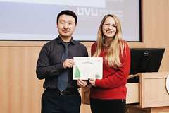 Munhbat Batmunkh, presents FAO-UN Certificate of appreciation to Savannah Mork, member of the student organizing committee (UIMF, Utah Valley University) Tags: internationalmountainday imd uvu uimf mps mountainpartnership unitednations un sdgs sustainabledevelopment