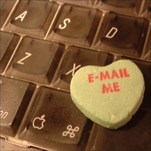 email me candy heart on a keyboard