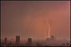 Red lightning (Sunbound) Tags: city urban cloud japan night tokyo asia metropolis lightning