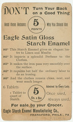 Eagle Starch Enamel Manufacturing Co., Frankford, Phila., Pa. (Library Company of Philadelphia) Tags: fashion advertisements manufacturing tradecards clothinganddress africanamericana africanamericanchildren librarycompanyofphiladelphia starchindustry