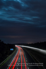 M5 by night C (Jacek Wojnarowski Photography) Tags: road uk nightphotography summer england motion blur vertical clouds landscape lights europe darkness motorway outdoor transport somerset front transportation expressway superhighway 6x4