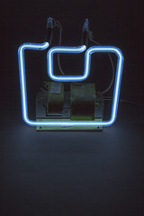 Still glows some 25 years later! -[ #FlickrFriday ]- (Carbon Arc) Tags: lighting blue cold art sign neon ar bright transformer mercury tube illumination ne gas electricity imadethis electrical argon luminous hg discharge cathode flickrfriday