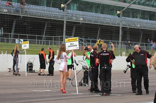 Mat Jackson's grid board on the grid at the BTCC weekend at Rockingham, September 2015