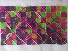 Pushing Chicken Scratch further (ChristineB16) Tags: pink colour green grid purple stitch embroidery heather experiment explore cloth samples investigations chickenscratch inktense