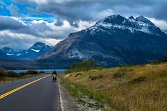 Cycling alongside St. Mary Lake; Glacier Nat'l Park.