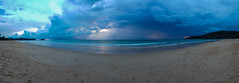 Karon Beach Pan (D Song) Tags: ocean travel blue sunset sea vacation sky people panorama sun storm beach nature wet water beauty silhouette yellow clouds landscape thailand island sand asia day dusk samsung stormy thai lightning southeast phuket andamansea s6 galaxys6
