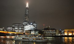 Silver Barracuda (2) @ London Bridge 02-11-15 (AJBC_1) Tags: uk england london night londonbridge boat ship unitedkingdom vessel nighttime riverthames cityatnight cityoflondon shipsatnight nikond3200 touristboat passengerboat theshard woodssilverfleet silverbarracuda ajc