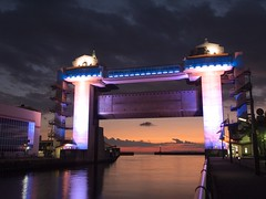 Numazu fishing port (elminium) Tags: sunset sea sky japan clouds po shizuoka izu watergate breakwater dmcg1