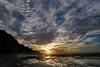 Napali coastline sunset, Kauai (Texas. Ranger) Tags: ocean sunset sky cliff sun mountain reflection beach water hawaii kauai keebeach