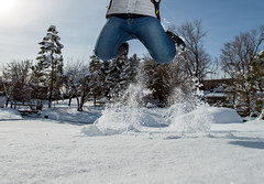 Take off (Flickr_Rick) Tags: autumn woman snow cold girl outside jump jumping breanne jumpology