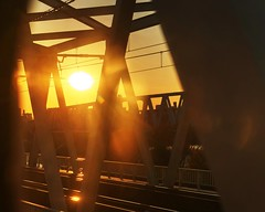 Looking into the land of the rising sun (PeterThoeny) Tags: tokyo japan train rail bridge steelbridge trainbridge day clear outdoor sky sun sunset orange yellow 1xp raw nex6 photomatix sel50f18 hdr qualityhdr qualityhdrphotography fav100