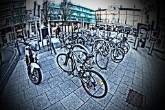 Bikes (Tyrone Williams) Tags: cardiff samyang8mm 8mm canon canon7d street wideangle architecture people insight shoppers capital wales 2017 winter