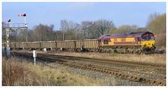 6E95 New Biggin British Gypsum to Hull Coal Terminal (elr37418) Tags: newbiggin hull hellifield settle carlisle 6e95 66069 ews england uk nikon d7000 red yellow signal british gypsum box wagons flickr yorkshire dales united kingdom track railway line