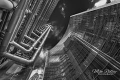 Gotham City ... (Mike Ridley.) Tags: lloyds lloydsoflondon office officeblock reflection reflections glass gothic city cityscape gothamcity monochrome mono blackwhite architecture london cityoflondon sonya7r2 mikeridley sonyfe1635f4