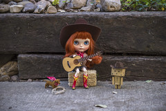 Howdy from Texas, y'all! (Dolly Adventures in the Galland Household) Tags: blythe doll custom collectibles childhood cute redhead freckles cowgirl cowboy danbo dachshund texas