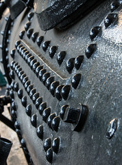 "Rivets on ""Peggy,"" a Lima Shay Geared Steam Locomotive (SN 2172)""Peggy,"" a Lima Shay Geared Steam Locomotive (SN 2172) (scattered1) Tags: 1909 2015 2172 center classb ehraim ephraimshay limalocomotiveworks limashay or oregon portland shay shopnumber2172 truck washington washingtonpark world worldforestrycenter antique balloon classic engine forestry geared gearedsteamlocomotive historic history locomotive oil old park powerful rail rivet rugged steam timber train trees wood"