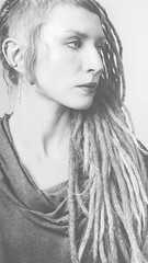 Gray in gray (Filidea) Tags: portrait blackandwhite woman female lowcontrast gray face nikond7100 dreads sidecut piercing selfportrait bw dreadlocks
