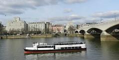Waterloo Bridge, London, Feb 2016 (allanmaciver) Tags: waterloo bridge strand london england capital city river thames grey cloudy style architecture vessel boat allanmaciver