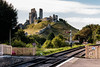 Corfe Castle (Keith in Exeter) Tags: castle corfe dorset england hill mound railway track lines platform fence signal crossing ruins architecture building outdoor landscape dominating fortress fort