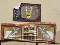 Graff in Paris - by ? (brigraff) Tags: streetart collage pastedpaper pasteup wheatpaste paris comics bandesdessinées bd lapin rabbit brigraff télévision télé tv
