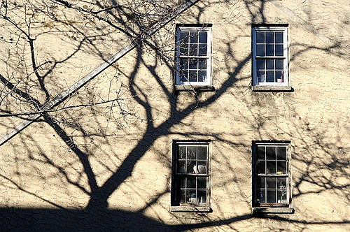 Winter shadows, West 10th Street, Greenwich Village, New York